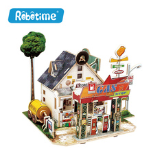 Robotime Wooden Woodcraft Construction Kit Assemble DIY Christmas Birthday Gift Home Decor American Style House(China)