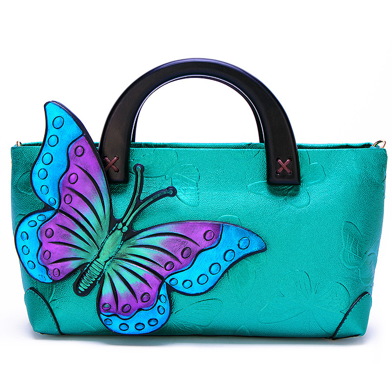 Womans Leather Tote Bag Butterfly Women Soft Capacity Shoulder Handbag