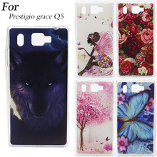 LUXURY Tiger Wolf Rose Design Painted Soft Tpu Back Cover For Prestigio Grace Q5 PSP5506DUO 5.0 Inch Cases Silicone Phone Bags(China)