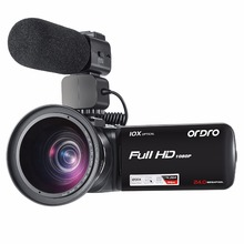 Ordro HDV-Z82 Video Camera 10X Optical Zoom Full HD 1080P Camcorder with External Microphone Wide Angle Lens(China)