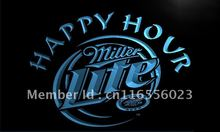 LA605- Miller Lite Happy Hour Beer Bar   LED Neon Light Sign     home decor shop crafts