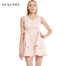 Oukytha 2017 Summer Sleeveless Mini Dress V-neck Bowknot Short Dress Pink Dress Bodycon Slim Fit For Day And Night WQS17229