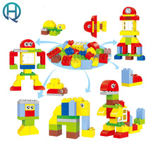 HuiMei Variety of Changes to Assemble Big Building Blocks Bricks Baby Early Educational Learning train Toys for Kids Brinque