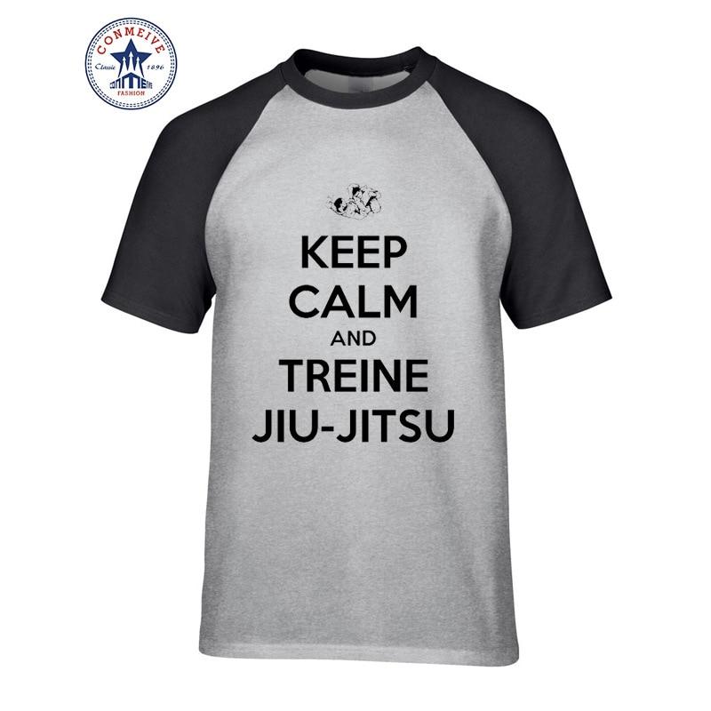 2017 Hot Selling Funny KEEP CALM AND TREINE JIU-JITSU Cotton T Shirt ...