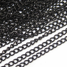 10Meters/Pack Black Metal Brass Necklace Chains Bulk for Diy Necklace Bracelet Jewelry Making Materials Supplies F760(China)