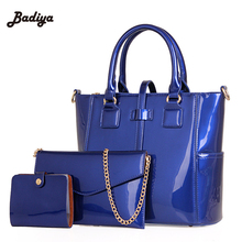 Fashion Women Tote Bolsas Shoulder Bags Patent Leather Bag Lady's Handbag Purse Messenger Crossbody 3 Sets - Mary's Store store