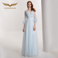 Coniefox 32101 blue backless lace elegant banquet Birthday dress evening Princess dress Party Prom dresses gowns high quality(China)