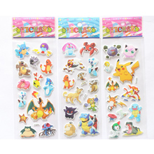 cartoon anime Pokemon stickers 3 Sheets/set ! for kids rooms Home decor Diary Notebook Label Decoration toy Pikachu 3D sticker