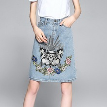 2017American Summer Stylish New Casual Vintage High Wasit A-Line Exquisite Cat Flowers Embroidery Light Blue Pocket Denim Skirt