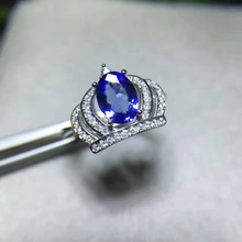 Natural Blue Tanzanite stone Ring 925 Silver Natural Gem Ring Fashion Elite Personality luxury Crown Women's party Rings Jewelry
