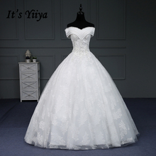 It's YiiYa Sales Wedding Dresses Boat Neck V-Neck Sleeveless Beading Appliques Floor Length Lace Up Frock Crystal IY179