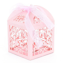 50pcs/pack New Cut Love Heart Laser Gift Candy Boxes Wedding Party Favor With Ribbon Paper board event party supplies