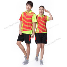 Adsmoney Men/Women Badminton wear suits, Polo Collar Table Tennis Training shirts with shorts, good quality Quick Dry Tennis kit(China)