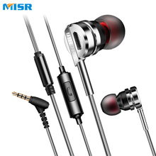 MISR X500 In-ear Micro Wire Earphone Metal Stereo Headset with Mic Microphone for Phones Noise Cancelling(China)