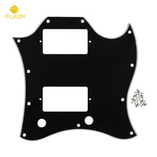 FLEOR Full Face SG Guitar Pickguard Scratch Plate Black 3Ply With Screws for SG Style Guitar Parts Replacement