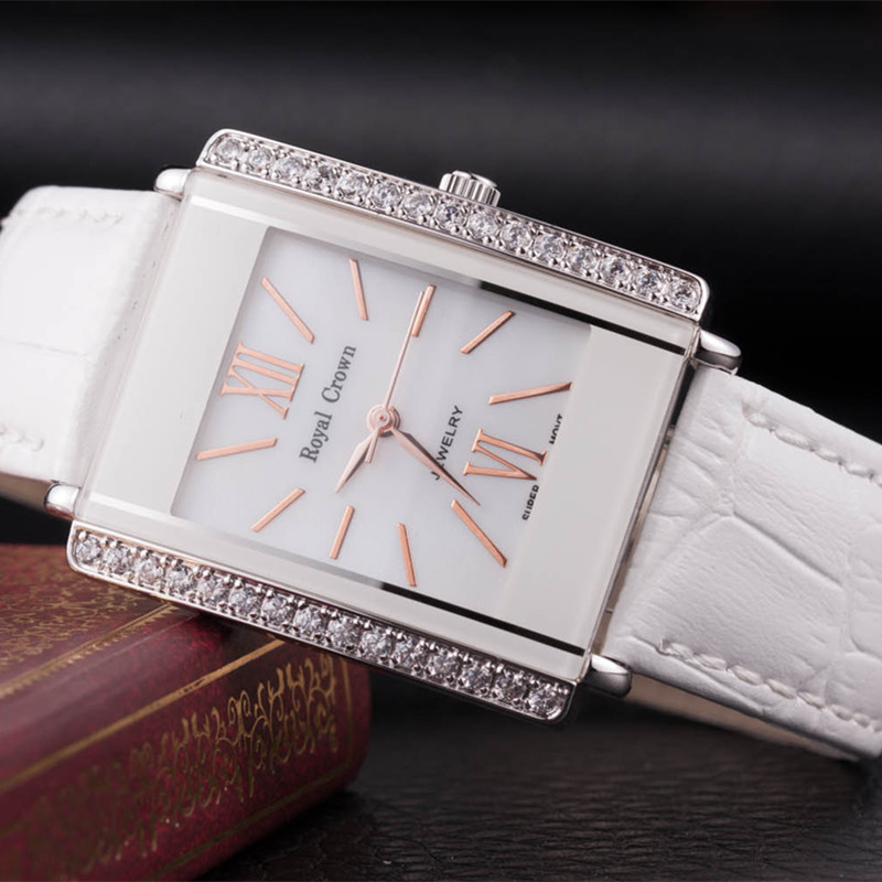 Royal Crown Lady Womens Watch Japan Quartz Setting Crystal Hours Fine Fashion Dress Bracelet Leather Luxury Rhinestone Gift Box<br>