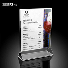 1pc Restaurant Hotel Utensils Table Menu Sign Display Holder Upright Ad Frame Brochure Holder Clear Acrylic Menu Holder