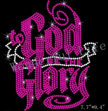Free shipping To God Be The Glory Christian Religious Rhinestone Bling Transfer Hot Fix Fuchasia with white clear
