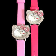 2017 Top Children Cartoon Watches Hello Kitty Watch For Kids Girls Leather Quartz Wristwatches Hellokitty Relogio Relojes Mujer(China)