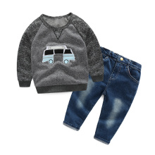 New Children boys clothing set Autumn spring cotton car long sleeve t shirts+jeans pants 2pcs/set sprots wear Kids clothes suit