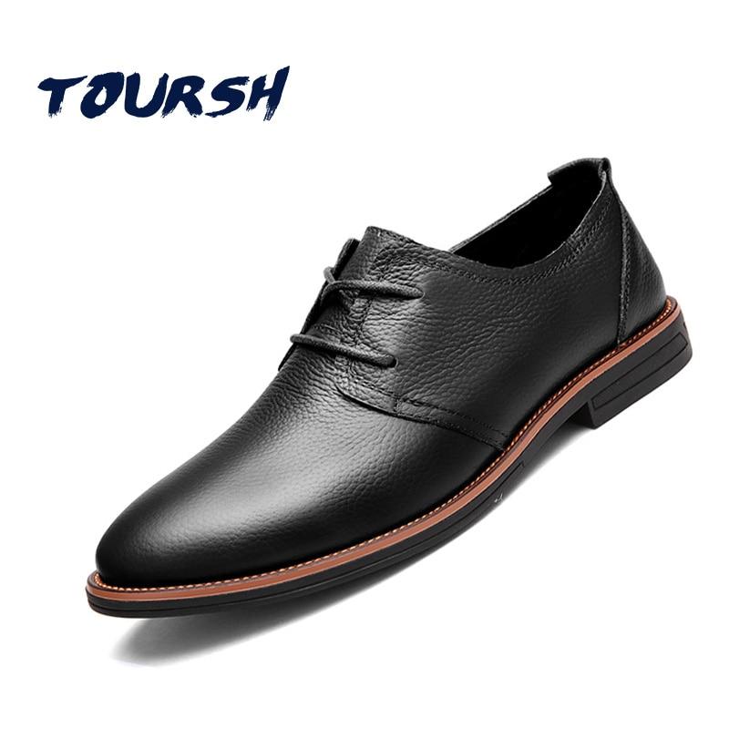 TOURSH 2018 NEW ARRIVAL Luxury Genuine Leather Men Shoes Brogue Lace Up Platform Fashion Oxfords Man Flats Casual Male Shoes<br>