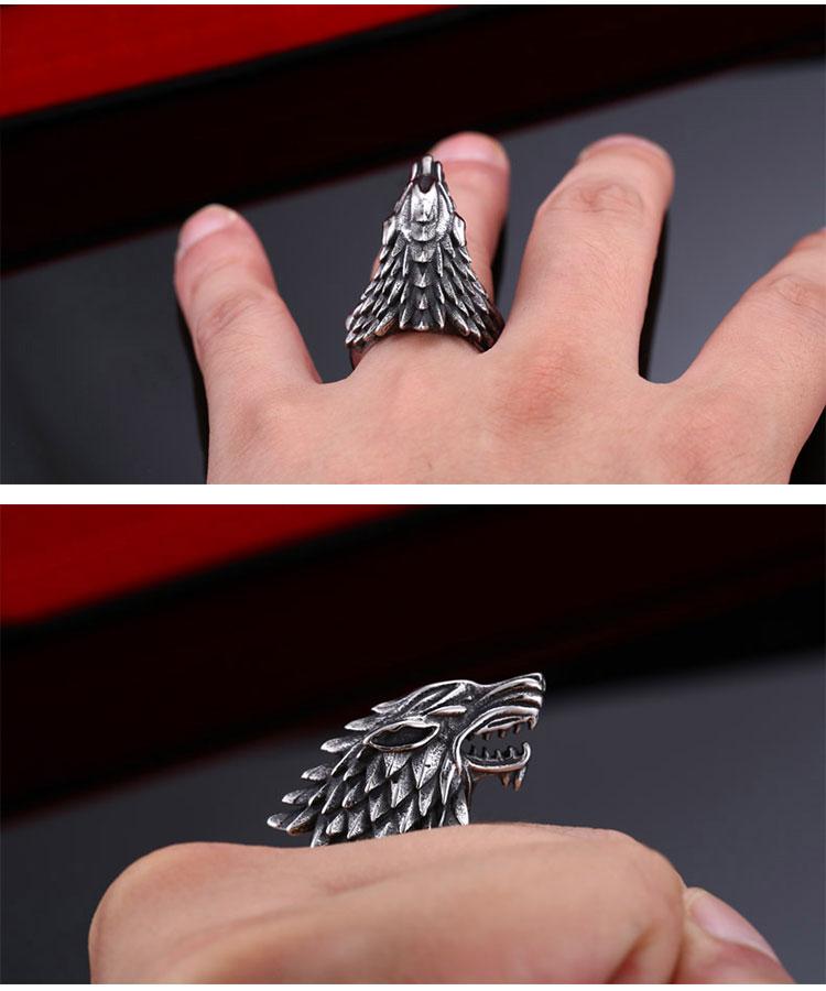แหวนผู้ชายเท่ห์ๆ Code 042 แหวนหมาป่า สแตนเลส แกะลายคมๆสวยๆ13