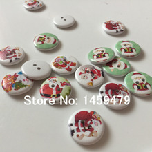 New Product 80Pcs 20mm Random Mixed Colors Hand Made 2 Holes Sewing Christmas Round Wood Buttons Garments Ornament Accessory(China)