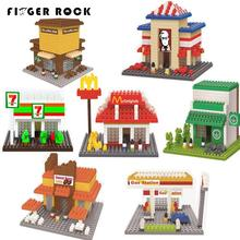 Wise Hawk Diamond Mini Blocks Department Store Model DIY Building Toys Gas Station Starbucks Plastic Children Gifts Kits Toy