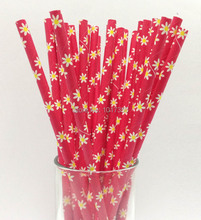 NEW ARRIVAL red/green/pink Daisy flowers PAPER STRAWS WEDDING Valentine PARTY DECORATION 75pcs Drinking Straws Kids Birthday(China)