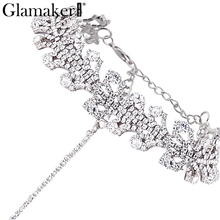 Glamaker Chic chain rhinestone necklace women collier Party pendant necklace accessories Club flower necklace 2017