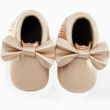 Sole no logo Bowknot baby shoes Soft Bottom Fashion Tassels Baby Moccasin Newborn Babies Shoes PU leather Prewalkers Boots(Chile)