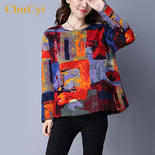 Buy CbuCyi Winter Fashion Tops Women Clothing Casual Shirt Long Sleeve O-neck Print T-shirts Ladies Vintage Linen Cotton Tees Shirts for $19.20 in AliExpress store