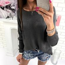 Sweater Women Winter Knitted Pullover Solid Sweater Zipper Back Causal Top Autumn Female Oversized Sweater WS2274C