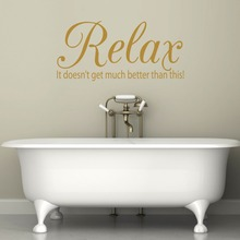 Bathroom Quote Wall Decal Quotes Relax Houseware Home Interior Decor Bath Art Mural Removable Waterproof Vinilos Paredes SYY753(China)