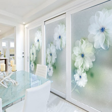 Free Size Customized  Stained Glass Window Film Sliding Door Closet Wardrobe Stickers Static Cling Home Decor  Dream Flowers