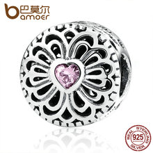 BAMOER Hot Sale 925 Sterling Silver Love & Friendship, Pink CZ Beads Fit Charms Bracelets Fashion Jewelry PAS377(China)