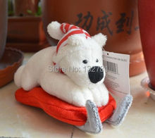 Lovely Sled Bear Stuffed Plush Toy, X'mas Hat Bear Gift for Baby Toy Doll Free Shipping