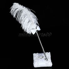 Ostrich Feather Quill Bowknot Guest Book Signing Pen Signature Pens with Holder Base Parties Celebrations Wedding Pen Set Supply