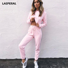LASPERAL Autumn Winter Long Sleeve Two Piece Sets Women Sets Hooded Crop Top Tracksuit Ladies 2017 Fashion Patchwork Candy Color