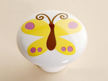 UNILOCKS 10Pcs Furniture Parts  Cartoon Yellow Butterfly Furniture Knobs and Pulls(Diameter:38mm)