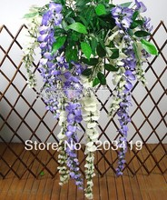 1PCS  L bouquet 3 twigs Artificial wisteria flowers leaves vines fake plants Wedding Party Home Decoration craft DIY whcn+