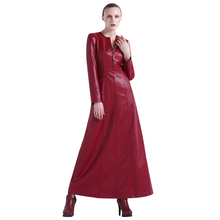Buy DF Luxury PU Autumn Maxi Long Dress Slim Plus Size Women Clothing Muslim Long Sleeve Party Night Red Dresses 6215 for $71.99 in AliExpress store