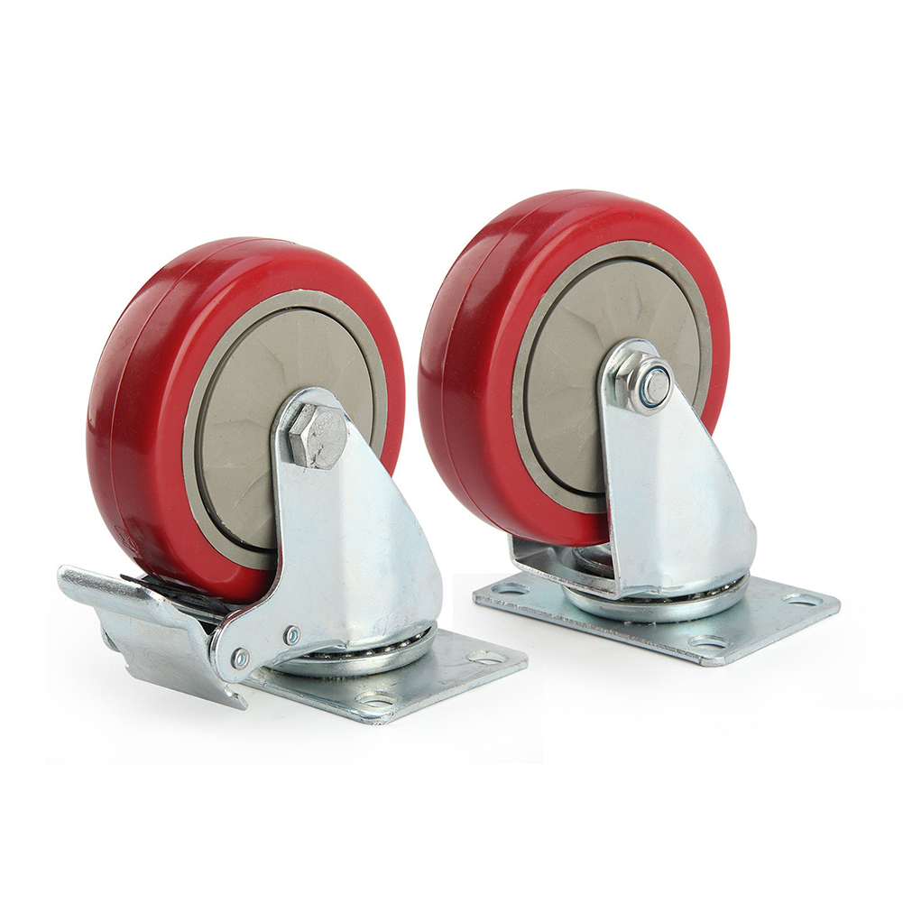 2 x Heavy Duty 125mm Rubber Wheel Swivel Castor Wheels Trolley Caster Brake Set of castor<br>