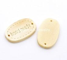 "DoreenBeads 100PCs ""hand made"" Oval Wood Jewelry Connectors 19x12mm(3/4""x1/2"") (B18501), yiwu"