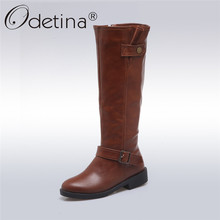 Odetina 2017 New Women Chunky Low Heel Riding Boots Wide Calf Side Zipper And Buckle Knee High Boots Winter Shoes Plus Size 43(China)