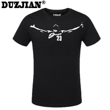 DUZJIAN 2016 summer Cavalier LeBron James Men's cotton T-shirt bodybuilding maillot de basket camisa masculina cheap jerseys(China)