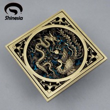 Antique Brass Chinese Dragon Style Floor Drain Bathroom Ground Overflow Fitting(China)