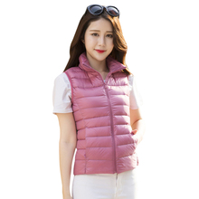 BONJEAN womens vests Winter down jacket vest Ultralight White Duck slim Down Vest outerwear Female Women's Warm Waistcoat(China)