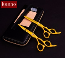 "Kasho 6.0""set hairdresser professional hairdressing scissors hair cutting scissors barber scissors thinning shears 5 colors(China)"