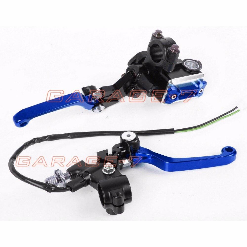 New CNC 7/8 Brake Master Cylinder Pressure Switch Reservoir Levers Blue For Yamaha YZ125/250  2008-2014 2013 2012 2011 2010<br><br>Aliexpress